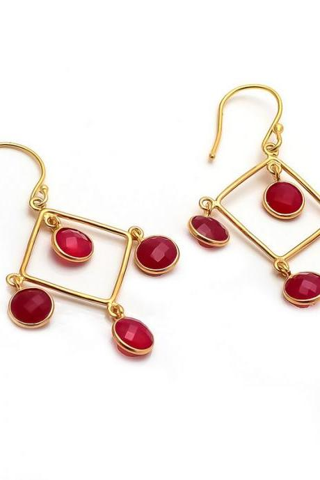 Trendy Beautiful new Design Four Round Fuchsia Chalcedony Stone Earrings- Micron gold Plated